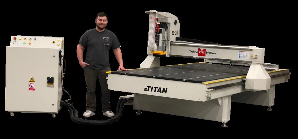 Bobby Standing Near A Techno CNC Titan Silhouette CNC Machine