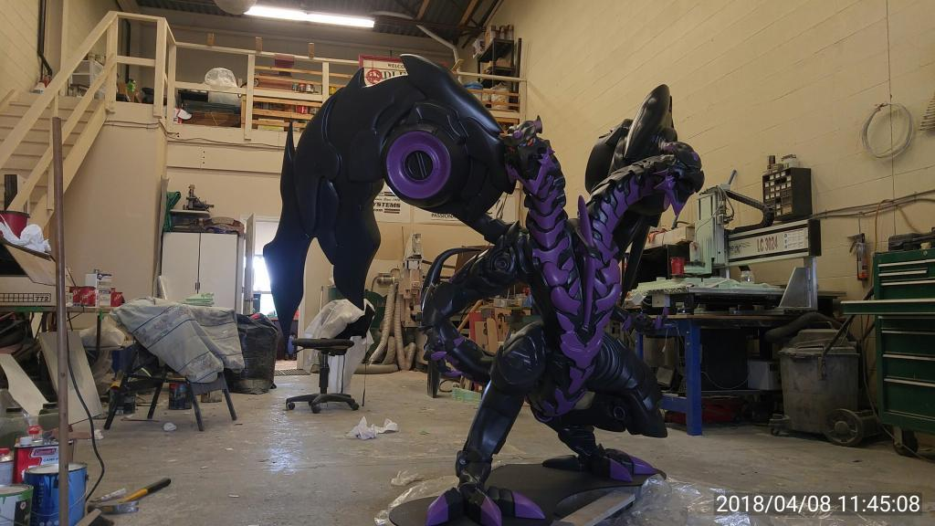 Black & Purple Two Headed Dragon Created With A Techno CNC Router Machine
