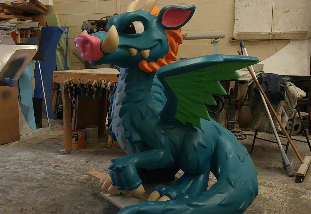 Colorful Blue Green Dragon built with Techno CNC Routers and System with Green Wings