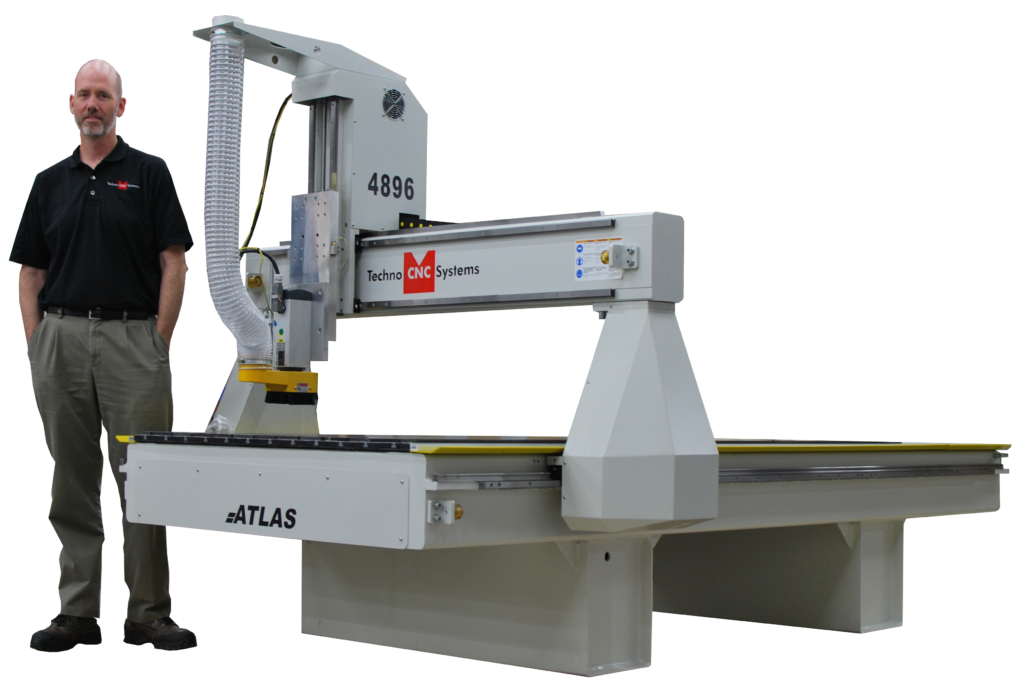 Man standing for Size Comparison of 4896 Atlas Techno CNC System
